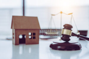 House and law concept, object only, nobody in modern office.